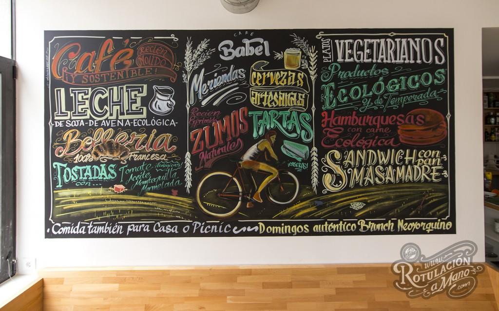 cafe babel torrelodones rotulacion a mano graffiti pizarra