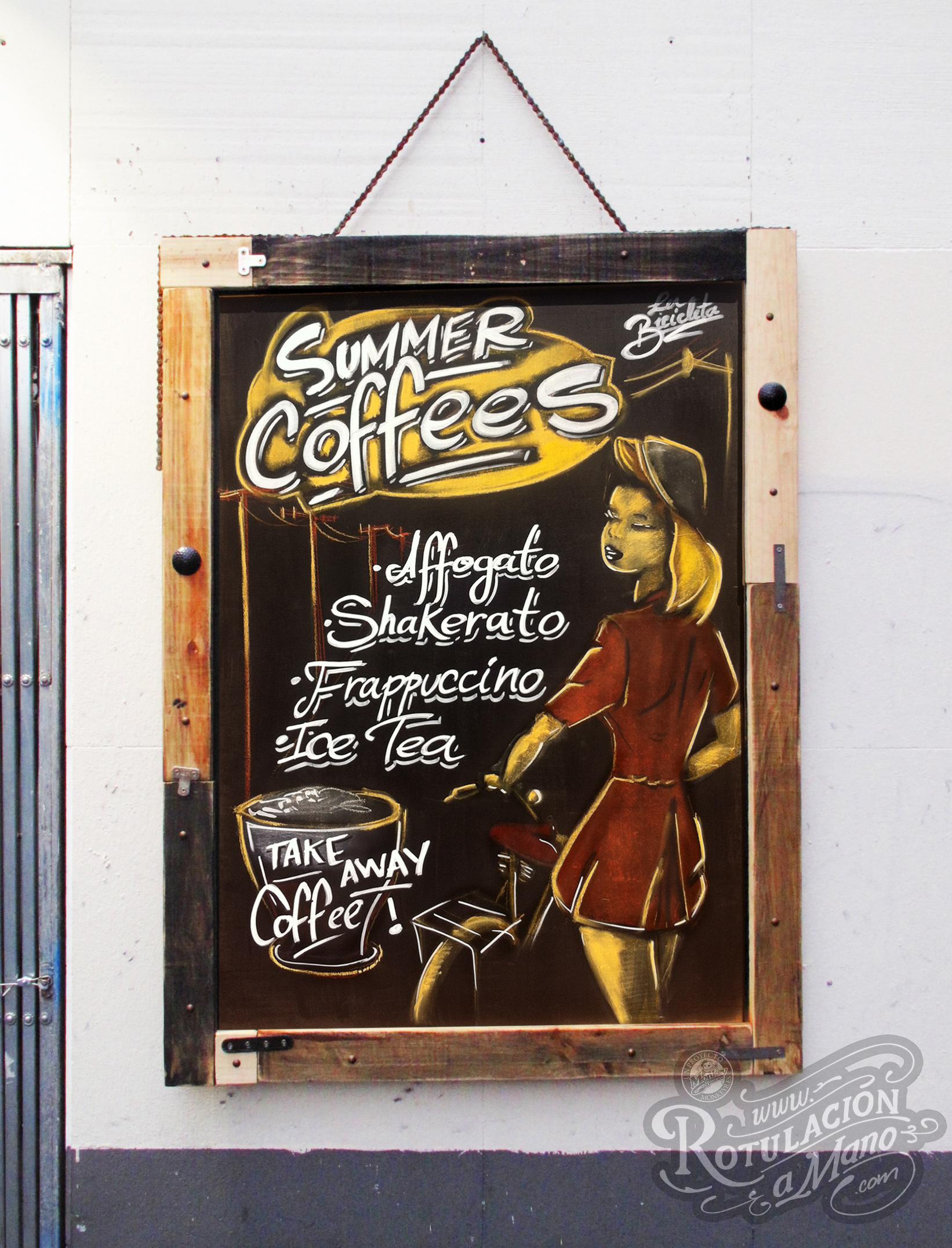 summer coffees la bicicicleta pizarra chalkboard malasaña