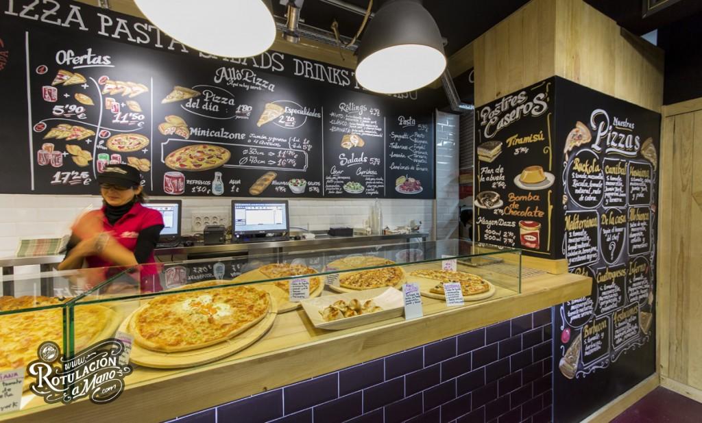Mural pizarra menú para Allo Pizza Take Away
