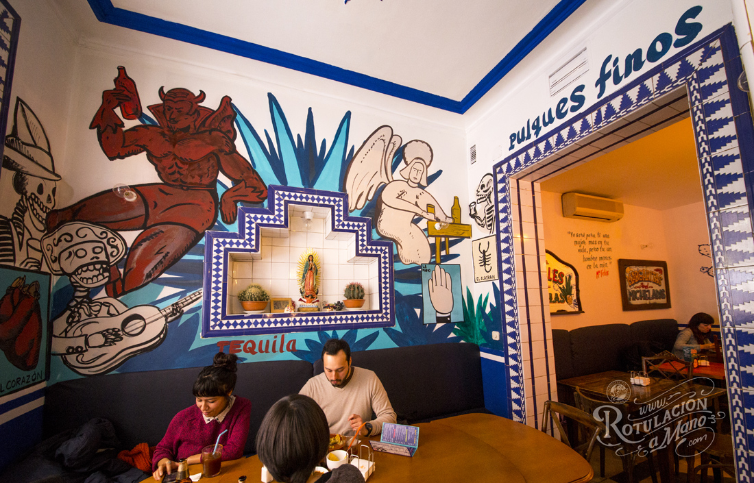 Maria Bonita Taco Bar Lavapies rotulación a mano lettering mexico murales (5)