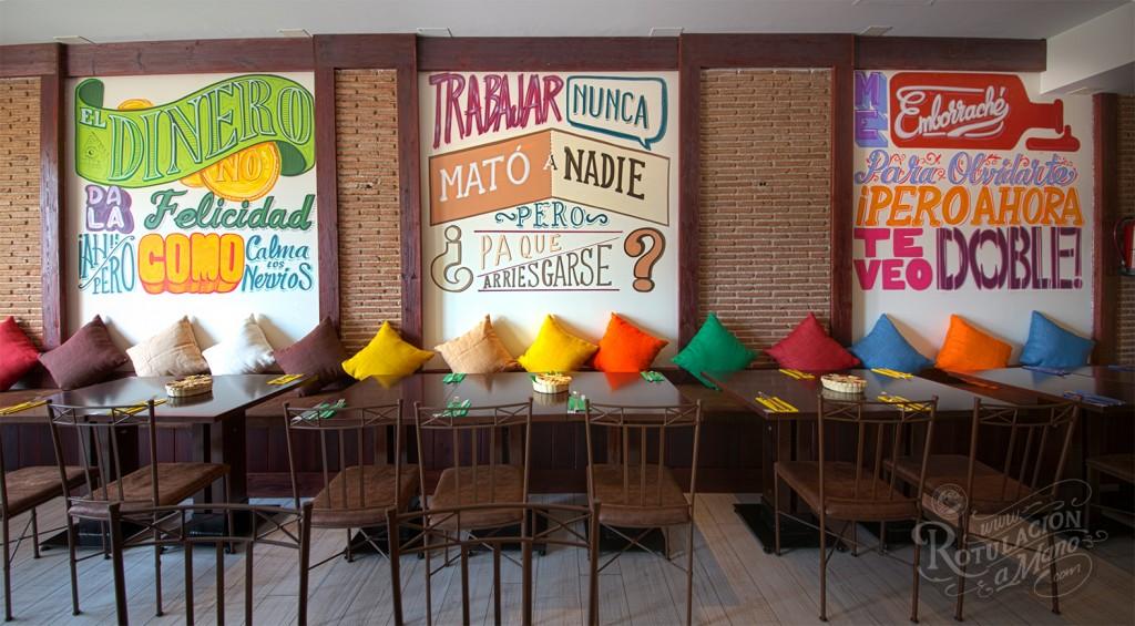 Rotulacion a mano restaurante colores de m xico en for Disenos de interiores restaurantes