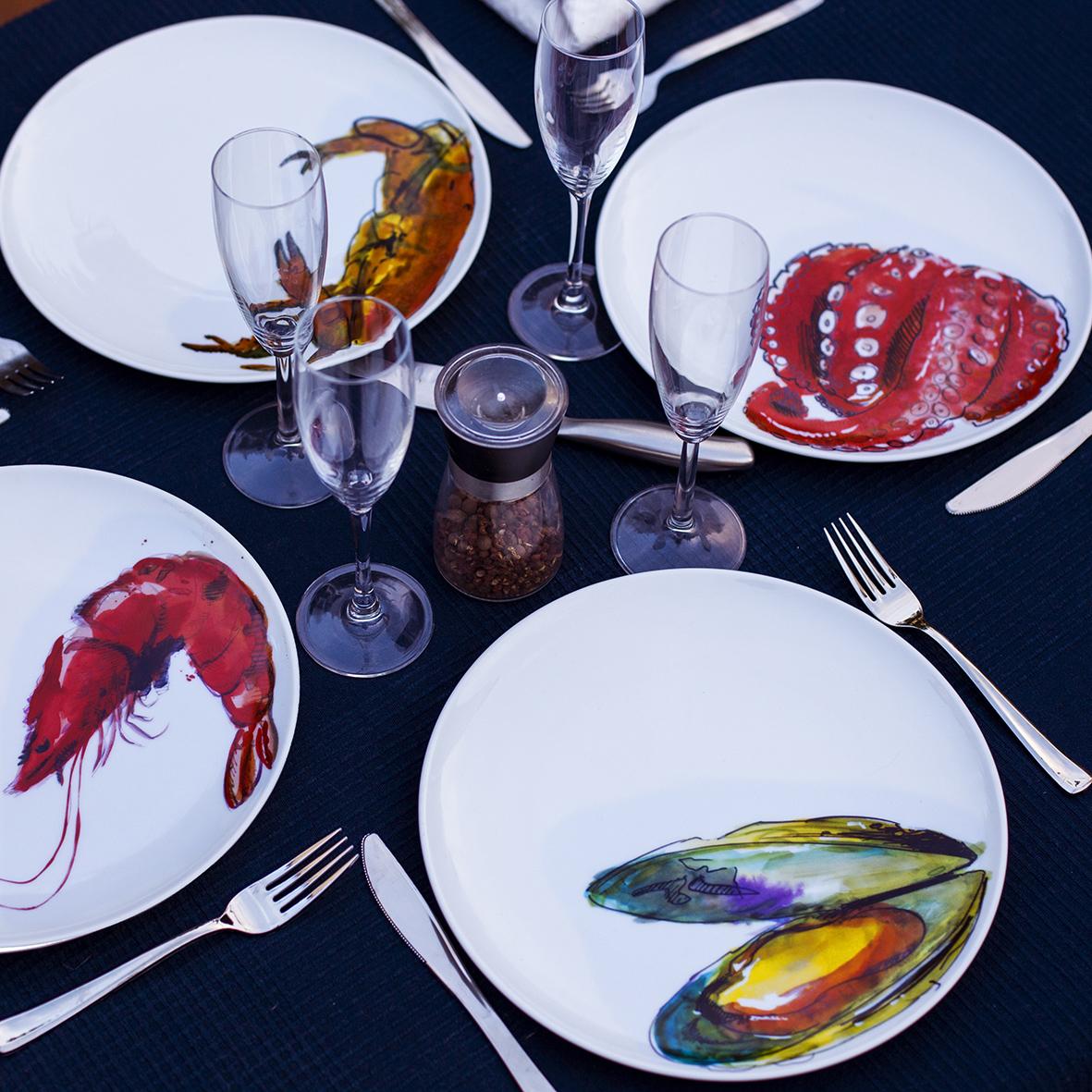 platos pintados marisco oter rotulacion acuarelas (2)
