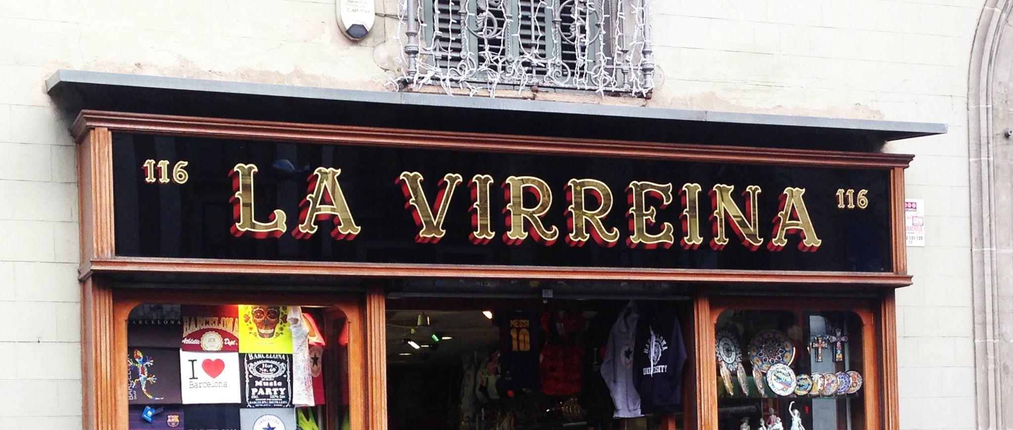 La Virreina, por Oller Rotulista, #barcelona @bcncultura Pan de oro y pintura sobre cristal en reversa. @VisitBCN_ES Pieza probablemente rehecha o restaurada. — en Barcelona.