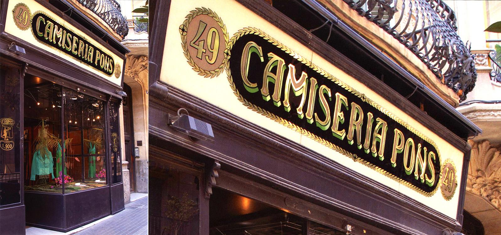 Uno de los mejores rótulos de #Barcelona y Europa: Camisería Pons (1900-2015) Cristal grabado, pintado y pan de oro. Autor desconocido. — en Península ibérica.