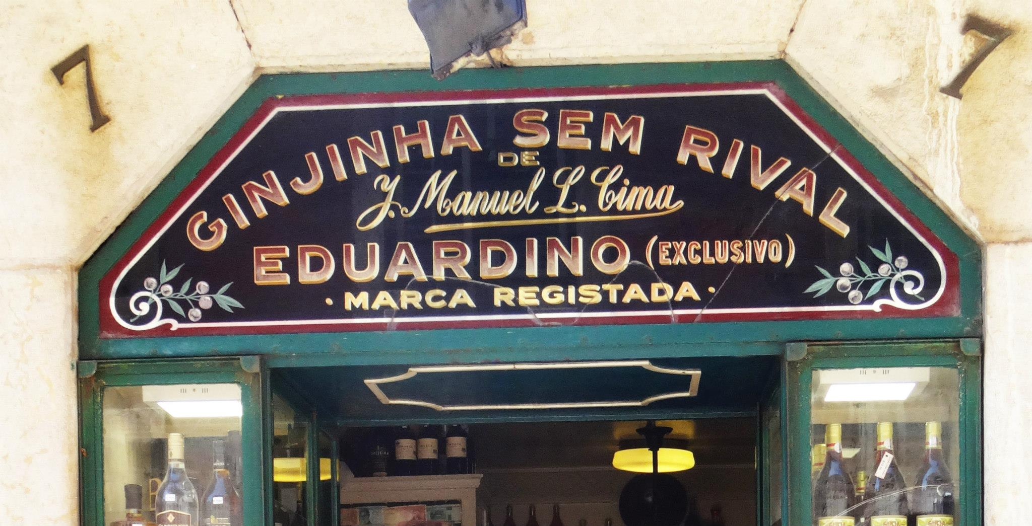 Ginjinha Sem Rival, esmalte y pan de oro sobre cristal, #lisboa #lisbon #rotulo —