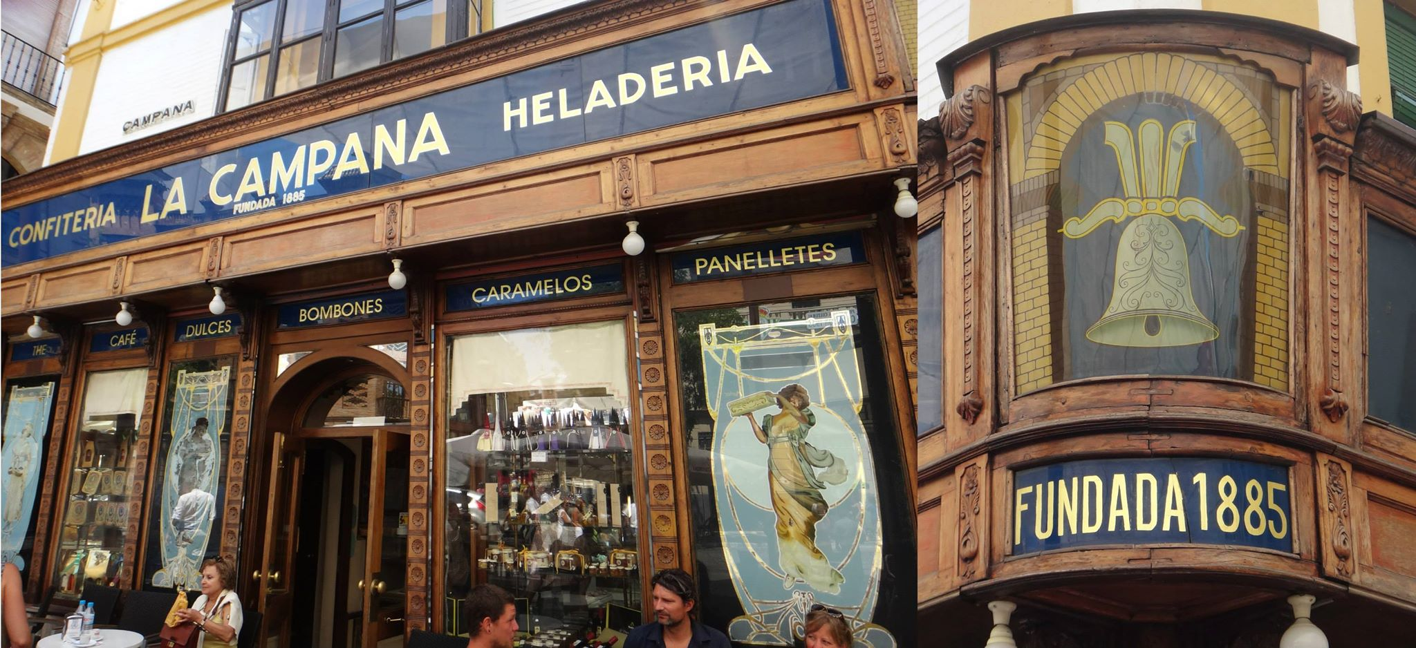 La Campana, piezas nuevas y antiguas, cristal pintado en reversa y pan de oro. Autor desconocido — en Sevilla.
