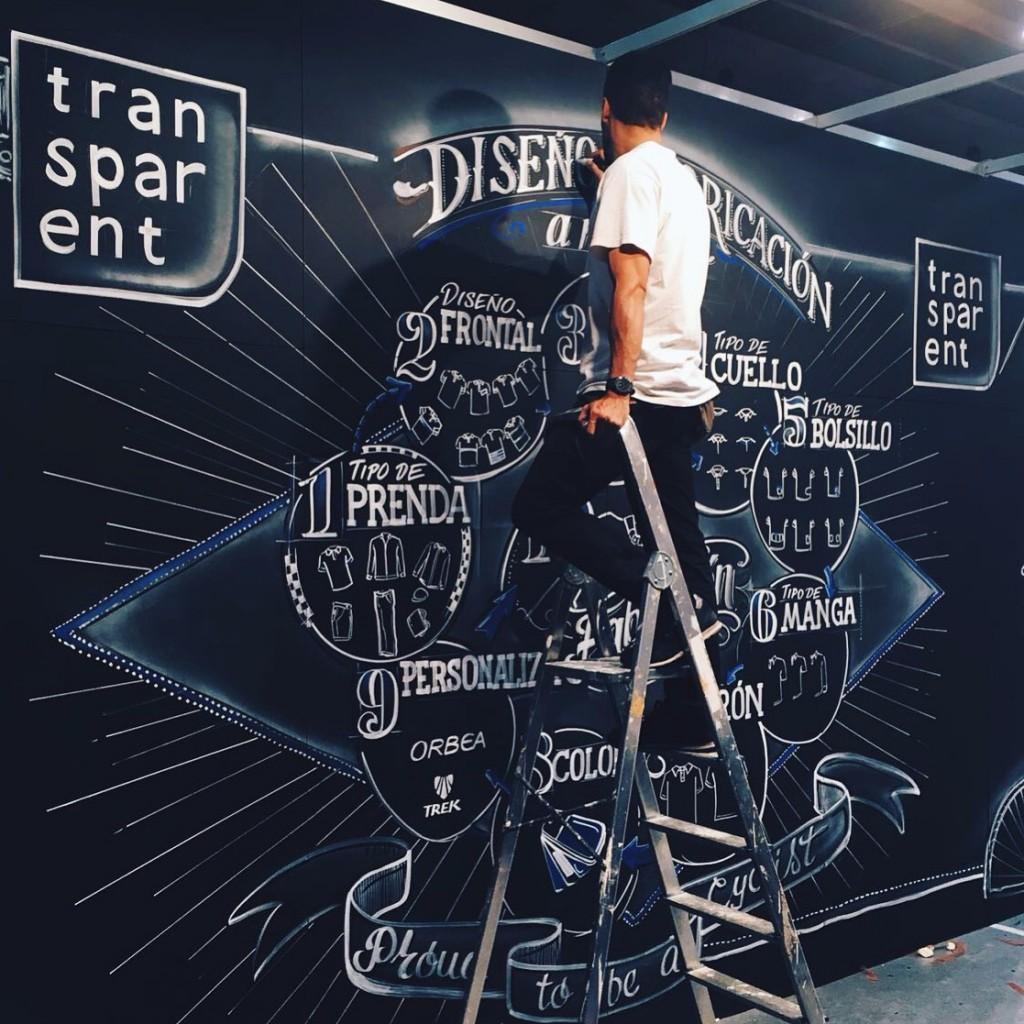 Pintando pizarra adhesiva en el Stand de Transparent feria Unibike